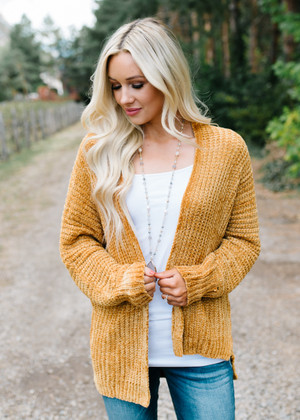 Take Every Chance Cozy Cardigan Mustard