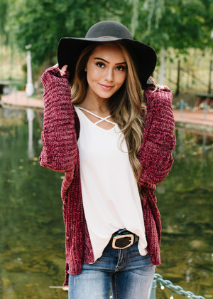 Take Every Chance Cozy Textured Cardigan Wine