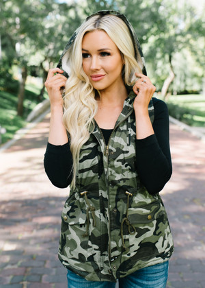 Listen To The Silence Camo Fur Lined Hooded Vest