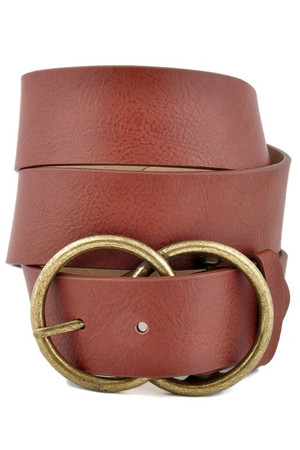 Leatherette Double Round Belt Brown