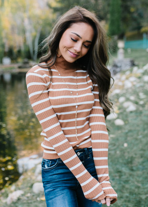 Pretty Cute Striped Ruffle Top Burnt Mustard