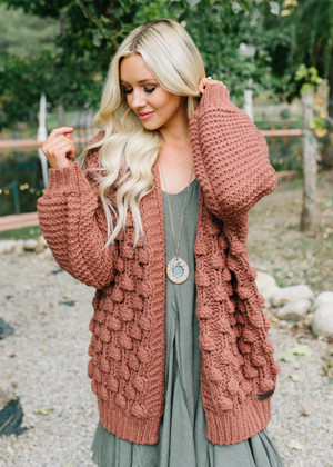 Forget All The Drama Pom Pom Oversized Sweater Brick CLEARANCE