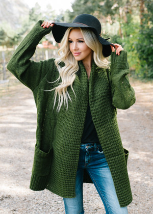 Waltz Away With My Heart Braided Knit Cardigan Olive