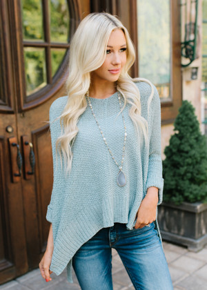 Closer To Me Knit High Low Sweater Top Mint