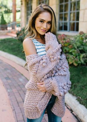 I Wear My Heart On My Sleeve Pom Pom Sweater Mauve