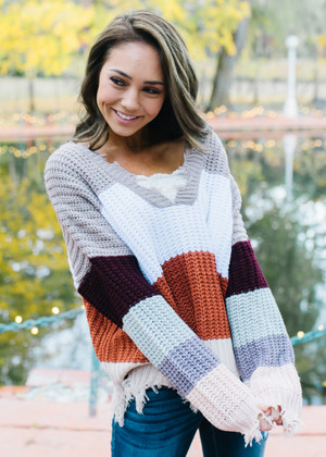 Fly Me To The Moon Color Block Knit Sweater Top Rust