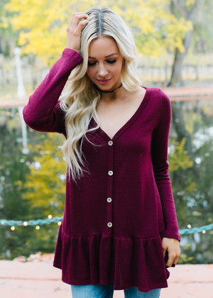 Hello To Love Ruffle Button Top Burgundy