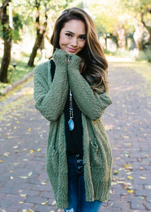 Setting The Night On Fire Cardigan Olive