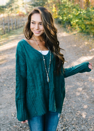 Makes Me Happy Detailed Knit Sweater Top Teal