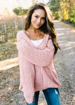 Deep Boat Neck Soft Knit Oversized Sweater Top Peach