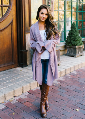 Just To See You Smile Belle Textured Cardigan Ash Purple