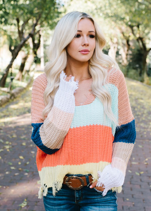 Fly Me To The Moon Color Block Knit Sweater Top Peach