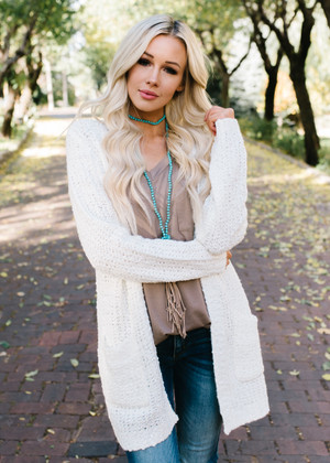 Change The World Textured Pocket Cardigan Natural