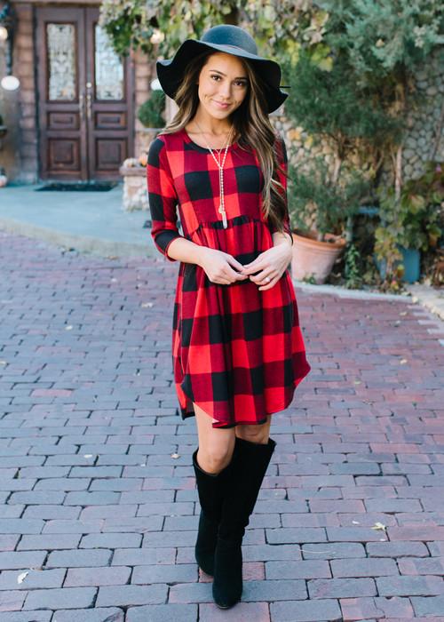Red Plaid High Low Dress
