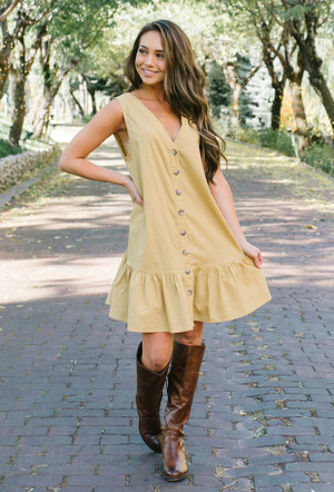 Come On Strong Button Ruffle Dress Mustard