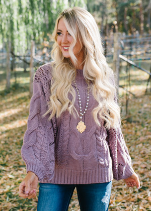 Light In Your Eyes Puff Sleeve Knit Sweater Ash Purple