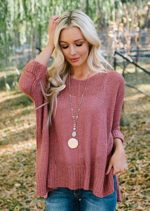Closer To Me Knit High Low Sweater Top Ginger