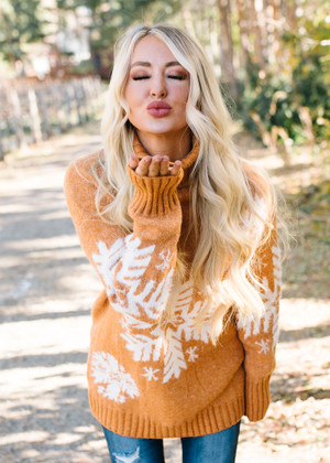 Snow Angel Snowflake Sweater Pumpkin