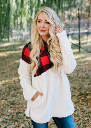 All I Ever Wished For Buffalo Plaid Oversized Cozy Sweatshirt CLEARANCE