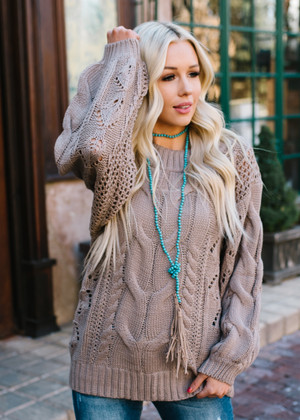 Light In Your Eyes Puff Sleeve Knit Sweater Mocha