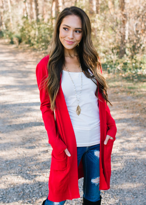 Long Open Pocket Cardigan Red CLEARANCE