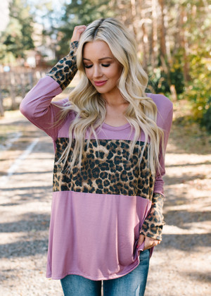 Leopard Patch Hacci Top Dusty Pink