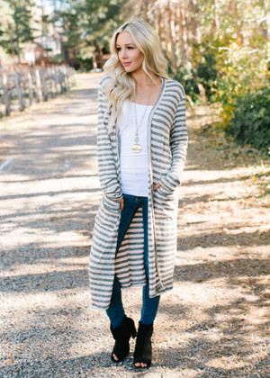 Sweetly Done Striped Long Cardigan Charcoal/Natural CLEARANCE