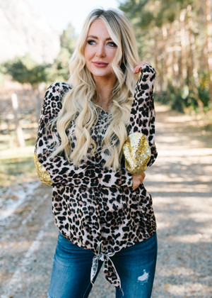 V-Neck Front Tied Leopard Sequins Elbow Top CLEARANCE