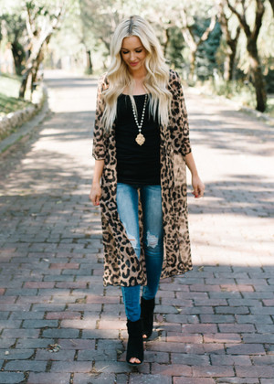 Desirable in Leopard Sheer Kimono CLEARANCE