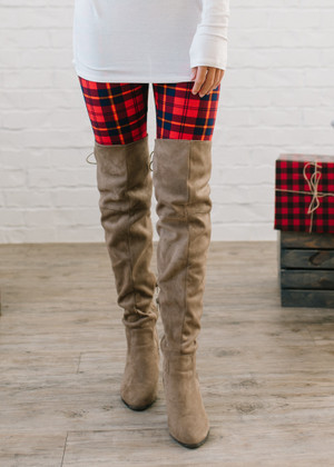 (Cyber Monday) Holiday Plaid Leggings Red