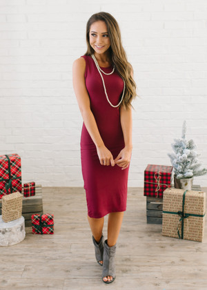 (Cyber Monday) Bodycon Fitted Tank Layering Midi Dress Burgundy