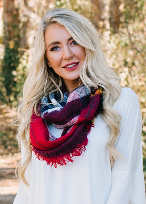 (Black Friday) Perfect Plaid Infinity Scarf Red