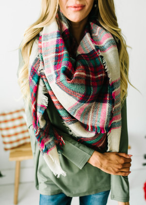 Perfect Plaid Blanket Scarf Multi Pink