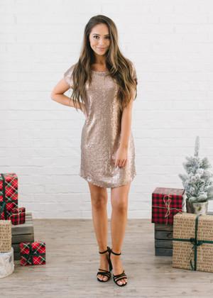 Secret Santa Sequins Dress Bronze