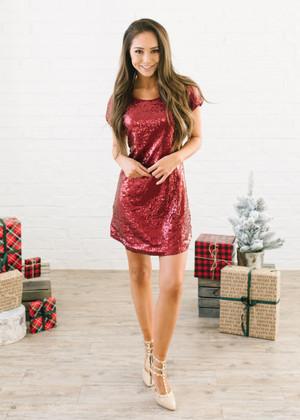 Secret Santa Sequins Dress Burgundy