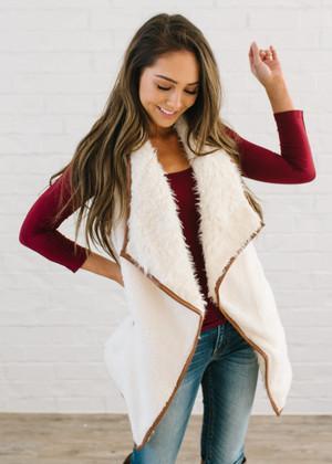 Faux Leather Trim Fur Vest Cream