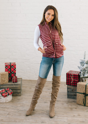 Mulberry Striped Zip Up Vest