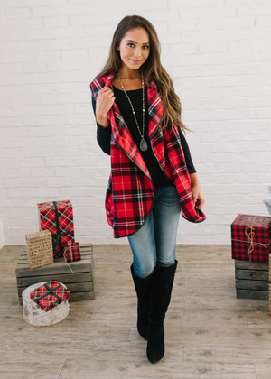 Holiday Festivity Plaid Trim Vest Red CLEARANCE