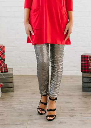 Nothin But Sequins Pants Silver CLEARANCE