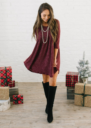 The New Girl In Town Soft Babydoll Dress Burgundy