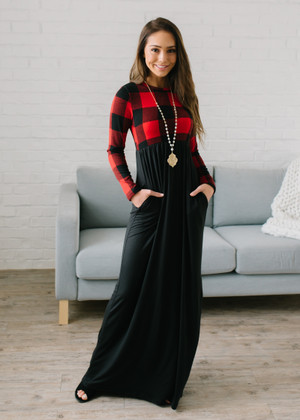 Buffalo Print Top Long Maxi Dress Black