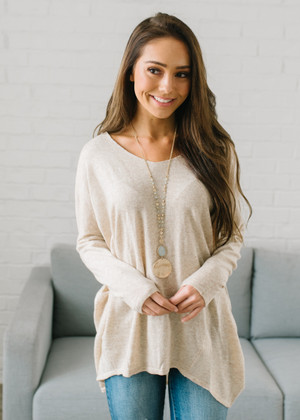 Beautiful Thoughts Luxe Sweater Dolman Top Beige CLEARANCE
