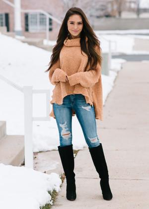 Chenille Turtle Neck High Low Sweater Mustard CLEARANCE