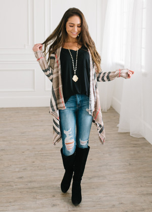 Sweet Plaid Drape Open Cardigan Taupe CLEARANCE