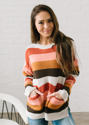 Call Me Baby Knit Ribbed Striped Pocket Sweater CLEARANCE