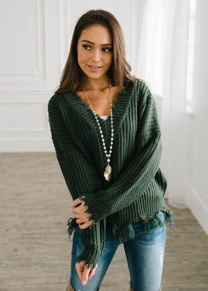 Keep Me Distressed Frayed Knit Sweater Hunter Green