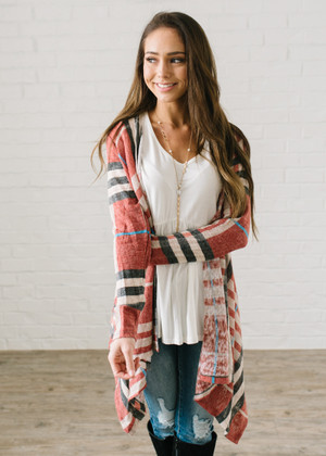 Sweet Plaid Drape Open Cardigan Rust CLEARANCE