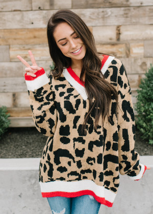 Leopard Oversized Slouchy Sweater Red Trim