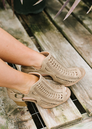 One Direction Laser Cut Booties Taupe