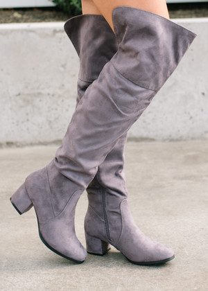Take My Hand Tall Knee High Boots Gray CLEARANCE
